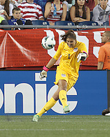 USWNT substitute goalkeeper Hope Solo (1). In an international friendly, the U.S. Women's National Team (USWNT) (white/blue) defeated Korea Republic (South Korea) (red/blue), 4-1, at Gillette Stadium on June 15, 2013.