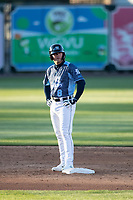West Michigan Whitecaps third baseman Spencer Torkelson (8) on second base against the Great Lakes Loons at LMCU Ballpark on May 11, 2021 in Comstock Park, Michigan. The Loons defeated the Whitecaps in their home opener 9-1. (Andrew Woolley/Four Seam Images)