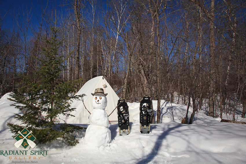 """""""The Happy Camper""""<br /> Who doesn't smile at the sight of a happy snowman?<br /> ~ Day 14 of Inspired by Wilderness: A Four Season Solo Canoe Journey"""