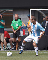 Argentina defender Pablo Zabaleta (4) controls the ball. In an international friendly (Clash of Titans), Argentina defeated Brazil, 4-3, at MetLife Stadium on June 9, 2012.