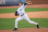 Relief pitcher D.J. Swatscheno #32 of the Miami Hurricanes in action versus the Boston College Eagles at Durham Bulls Athletic Park May 22, 2009 in Durham, North Carolina.  (Photo by Brian Westerholt / Four Seam Images)