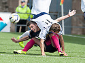 Forfar's Danny Denholm goes over the top of Morton's Michael Miller.