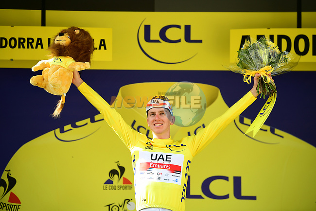 Tadej Pogacar (SLO) UAE Team Emirates retains the race leaders Yellow Jersey at the end of Stage 15 of the 2021 Tour de France, running 191.3km from Ceret to Andorre-La-Vieille, France. 11th July 2021.  <br /> Picture: A.S.O./Pauline Ballet | Cyclefile<br /> <br /> All photos usage must carry mandatory copyright credit (© Cyclefile | A.S.O./Pauline Ballet)