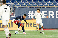 FOXBOROUGH, MA - OCTOBER 09: Damian Rivera #72 of New England Revolution II stops the ball as Sami Guediri #3 of Fort Lauderdale CF attempts to block a pass during a game between Fort Lauderdale CF and New England Revolution II at Gillette Stadium on October 09, 2020 in Foxborough, Massachusetts.