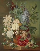 Flowers in a terracotta vase, Albertus Jonas Brandt, Eelke Jelles Eelkema, 1810 - 1824