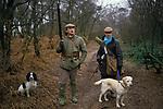 Game bird shoot UK  Pheasant Shooting private estate Lancashire. rural sport Man men and his their working gun dogs.  1980s 80s