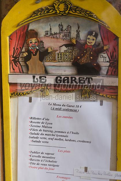 Europe/France/Rhône-Alpes/69/Rhône/Lyon:  Bouchon Le Garet, 7, rue du Garet, le menu du bouchon sous le signe de Guignol