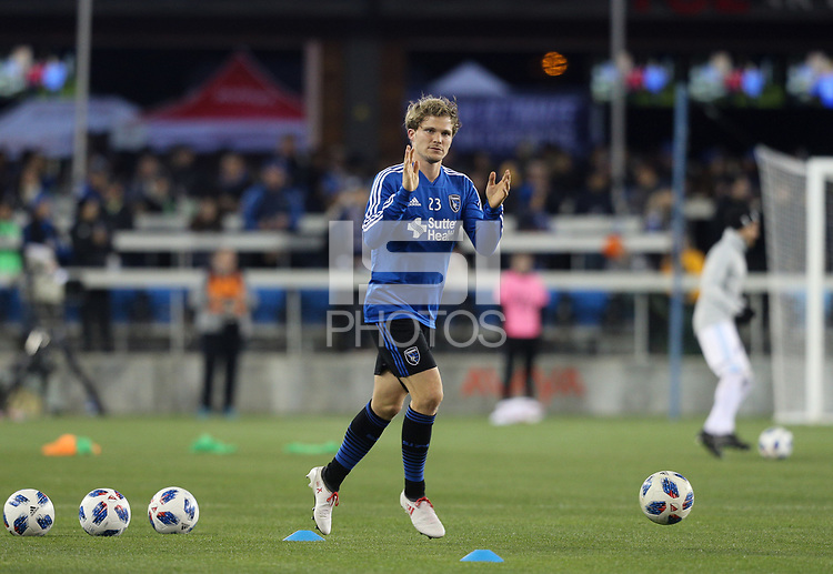 San Jose, CA - Saturday March 03, 2018: Florian Jungwirth during a 2018 Major League Soccer (MLS) match between the San Jose Earthquakes and Minnesota United FC at Avaya Stadium.