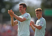 18.08.2018, Football DFB Pokal 2018/2019, 1. round, SV Drochtersen Assel - FC Bayern Muenchen, Kehdinger stadium Drochtersen. celebration   Thomas Mueller (Bayern Muenchen) and Joshua Kimmich (Bayern Muenchen)<br /><br /><br />***DFB rules prohibit use in MMS Services via handheld devices until two hours after a match and any usage on internet or online media simulating video foodaye during the match.*** *** Local Caption *** © pixathlon<br /> <br /> Contact: +49-40-22 63 02 60 , info@pixathlon.de