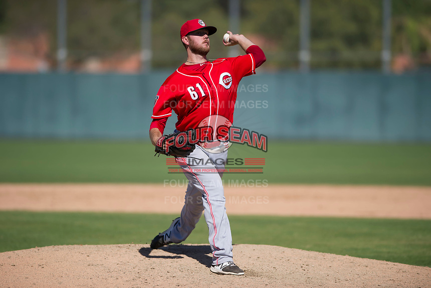 Cincinnati Reds pitcher Joel Bender (61) delivers a pitch to the plate during an Instructional League game against the Oakland Athletics on September 29, 2017 at Lew Wolff Training Complex in Mesa, Arizona. (Zachary Lucy/Four Seam Images)