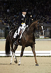 Anabel Balkenhol and Dablino of Germany perform their Freestyle Dressage in the Grand Prix Freestyle Dressage competition at the Alltech World Equestrian Games in Lexington, Kentucky.