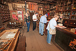 Visitors to the historic Chew Kee Chinese herb store, established 1855 during California's Gold Rush, Fiddletown, Calif.