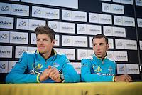 Jakob Fuglsang (DEN/Astana) & Vincenzo Nibali (ITA/Astana) at the pré-race press conference in Leeds<br /> <br /> Tour de France 2014