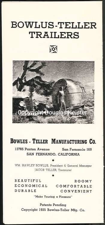 A sales brochure for Bowlus-Teller (Teller was a financial partner in the business) shows Hawley Bowlus's wife, Ruth, with the 1934 five-window coupe she used to deliver the trailers. Hawley and Ruth once towed a Bowlus all the way from California to Ohio to deliver it to a customer.
