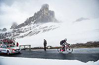 Eduardo Sepúlveda (ARG/Androni Giocattoli - Sidermec) coming over the Passo Giau<br /> <br /> due to the bad weather conditions the stage was shortened (on the raceday) to 153km and the Passo Giau became this years Cima Coppi (highest point of the Giro).<br /> <br /> 104th Giro d'Italia 2021 (2.UWT)<br /> Stage 16 from Sacile to Cortina d'Ampezzo (shortened from 212km to 153km)<br /> <br /> ©kramon