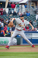 John Gast (26) of the Memphis Redbirds delivers a pitch to the plate against the Omaha Storm Chasers in Pacific Coast League action at Werner Park on April 24, 2015 in Papillion, Nebraska.  (Stephen Smith/Four Seam Images)