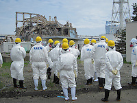 The stricken Fukushima Daiichi Nuclear Power Plant in Fukushima Prefecture, Japan. The plant was severely damaged after the March 11th earthquake and tsunami and continues to leak radiation.<br /> <br /> photo by TEPCO   / Sinopix