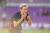 ORLANDO CITY, FL - FEBRUARY 21: Megan Rapinoe #15 of the USWNT celebrates a goal during a game between Brazil and USWNT at Exploria Stadium on February 21, 2021 in Orlando City, Florida.