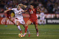 San Diego, CA - Sunday January 21, 2018: Stine Larsen, Christen Press prior to an international friendly between the women's national teams of the United States (USA) and Denmark (DEN) at SDCCU Stadium.