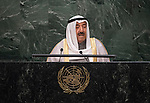 His Highness Sheikh Sabah Al-Ahmad Al-Jaber Al-Sabah, Amir of the State of Kuwait<br /> <br /> <br /> 6th plenary meeting High-level plenary meeting of the General Assembly (3rd meeting)
