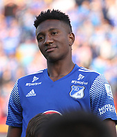 BOGOTÁ - COLOMBIA, 2-02-2020:Hansel Zapata durante partido entre Millonarios y La Equidad por la fecha 3 de la Liga BetPlay I 2020 jugado en el estadio Nemesio Camacho El Campín  de la ciudad de Bogotá. / Hansel Zapata during match between Millonarios and La Equidad for the date 3 as part of BetPlay League I 2020 played at Nemesio Camacho El Campin stadium in Bogota. Photo: VizzorImage / Felipe Caicedo / Staff