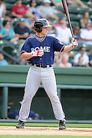 Infielder Brandon Drury (2) of the Rome Braves, an Atlanta Braves affiliate, in a game against the Greenville Drive on May 6, 2012, at Fluor Field at the West End in Greenville, South Carolina. Drury is Atlanta's No. 10 prospect, according to Baseball America. Greenville won, 11-3. (Tom Priddy/Four Seam Images)