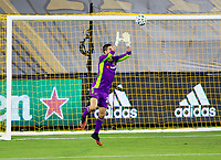 LOS ANGELES, CA - SEPTEMBER 23: Pablo Sisniega #23 GK of LAFC leaps high for to save a ball in the box during a game between Vancouver Whitecaps and Los Angeles FC at Banc of California Stadium on September 23, 2020 in Los Angeles, California.