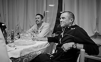 Simon Gerrans (AUS/Orica-GreenEDGE) enjoys a glas of champaign in the team hotel after winning the 'maglia rosa' earlier that day as he was the first guy across the finish line with Team Orica-GreenEdge winning the opening TTT of the 2015 Giro