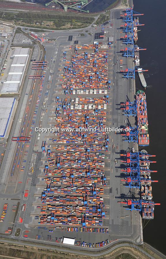 CTA: EUROPA, DEUTSCHLAND, HAMBURG, (EUROPE, GERMANY), 17.04.2010: Container Terminal Altenwerder, CTA, Container, Verladung, Containerverladung, Hamburger Hafen, HHLA Container Terminal, Elbe, Schiff, Seeschiff, Containerschiff, Logistik, Lager, Transport, Wirtschaft, Boom, Elbe,  Aufwind-Luftbilder, Luftbild, Luftaufname, Container, Terminal, Altenwerder, Containerschiff, Verladung, Laden, Loeschen, Lager, Logistik, automatischer, Betrieb, menschenleer, Hafen, Hamburg, Luftbild, Luftansicht, Luftaufnahme, Export, Import, Wirtschaft, Umschlag, Schiff, Schiffe, Wasser, Elbe, Fluss, Transport, Ansicht, Deutschland, Europa, CTA # aerial photo, aerial photograph, air opinion, bearing, bustle, camp, carriage, container ship, conveyance, deserted, downloading, eau, economy, elbe, elevation, encampment, encampments, envelope, erasure, europe, export, flow, fluency, flux, freightage, germany, hamburg, harbor, harbour, import, importation, importing, joint, loading, logistics, mode, operation, port, portage, porterage, river, service, ship, ships, store, storehouse, storehouses, terminal, transport, transportation, vessel, water # - <br />c o p y r i g h t : A U F W I N D - L U F T B I L D E R . de<br />G e r t r u d - B a e u m e r - S t i e g 1 0 2, <br />2 1 0 3 5 H a m b u r g , G e r m a n y<br />P h o n e + 4 9 (0) 1 7 1 - 6 8 6 6 0 6 9 <br />E m a i l H w e i 1 @ a o l . c o m<br />w w w . a u f w i n d - l u f t b i l d e r . d e<br />K o n t o : P o s t b a n k H a m b u r g <br />B l z : 2 0 0 1 0 0 2 0 <br />K o n t o : 5 8 3 6 5 7 2 0 9<br />V e r o e f f e n t l i c h u n g  n u r  m i t  H o n o r a r  n a c h M F M, N a m e n s n e n n u n g  u n d B e l e g e x e m p l a r !