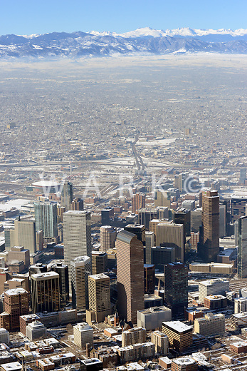 Winter inversion Denver Colorado skyline. Jan 2014. 89350