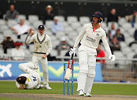 5th July 2021; Emirates Old Trafford, Manchester, Lancashire, England; County Championship Cricket, Lancashire versus Kent, Day 2; Keaton Jennings of Lancashire reacts after he is caught by Zak Crawleyoff the bowling of Matt Quinn