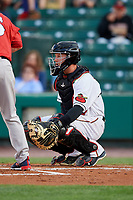 Rochester Red Wings catcher Wynston Sawyer (7) during a game against the Pawtucket Red Sox on May 19, 2018 at Frontier Field in Rochester, New York.  Rochester defeated Pawtucket 2-1.  (Mike Janes/Four Seam Images)