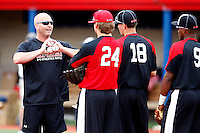 August 7, 2009:  Billy Ripken instructs Stetson Allie (24), Nick Castellanos (18) and Yordy Cabrera (9) while at the Under Armour All-America practice at Les Miller Field in Chicago, IL.  Photo By Mike Janes/Four Seam Images