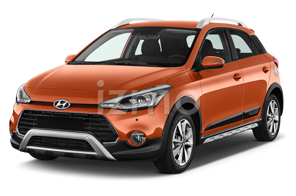 2016 Hyundai i20 ACTIVE Pop 5 Door Hatchback Angular Front stock photos of front three quarter view