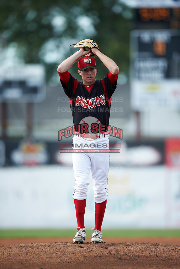 Batavia Muckdogs pitcher Travis Neubeck (13) gets ready to deliver a pitch during a game against the Vermont Lake Monsters August 9, 2015 at Dwyer Stadium in Batavia, New York.  Vermont defeated Batavia 11-5.  (Mike Janes/Four Seam Images)