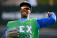 Center fielder Khalil Lee (9) of the Lexington Legends warms up before a game against the Greenville Drive on Friday, June 30, 2017, at Fluor Field at the West End in Greenville, South Carolina. Lexington won, 17-7. (Tom Priddy/Four Seam Images)