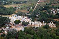 Myanmar, Burma.  Scenic View of Stupas from Shwe Oo Min Pagoda, Pindaya, Shan State.