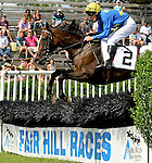23 May 09:  Miss Crown and rider Bernard Dalton clear a hurdle during  The Valentine Memorial Sport of Queen's Stakes at the Fair Hill Steeplechase Races in Maryland