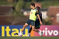 7th October 2020; Granja Comary, Teresopolis, Rio de Janeiro, Brazil; Qatar 2022 qualifiers; Rodrigo Caio and Rodrygo of Brazil during training session