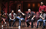 """Johanna Moise, Marc delaCruz, Terrance Spencer, Eric Castaldo, Deon'te Goodman and Thayne Jasperson  during the Q & A before The Rockefeller Foundation and The Gilder Lehrman Institute of American History sponsored High School student #EduHam matinee performance of """"Hamilton"""" at the Richard Rodgers Theatre on 5/22/2019 in New York City."""