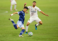 CARSON, CA - OCTOBER 18: Fredy Montero #12 of the Vancouver Whitecaps turns and takes shot during a game between Vancouver Whitecaps and Los Angeles Galaxy at Dignity Heath Sports Park on October 18, 2020 in Carson, California.