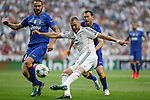 Real Madrid´s Karim Benzema and Juventus´s Leonardo Bonucci during the Champions League semi final soccer match between Real Madrid and Juventus at Santiago Bernabeu stadium in Madrid, Spain. May 13, 2015. (ALTERPHOTOS/Victor Blanco)