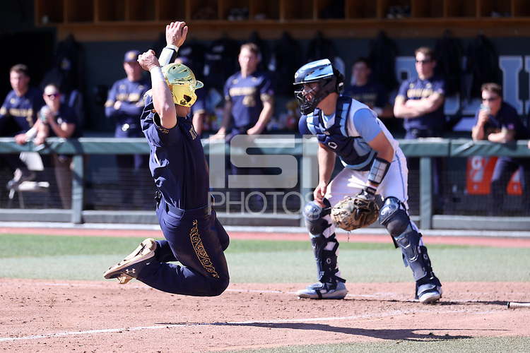 CHAPEL HILL, NC - MARCH 08: David LaManna #3  of the University of Notre Dame launches into a slide during a game between Notre Dame and North Carolina at Boshamer Stadium on March 08, 2020 in Chapel Hill, North Carolina.