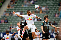 CARSON, CA - APRIL 25: Amro Tarek Abdel-Aziz  #3 of the New York Red Bulls with a head shot during a game between New York Red Bulls and Los Angeles Galaxy at Dignity Health Sports Park on April 25, 2021 in Carson, California.