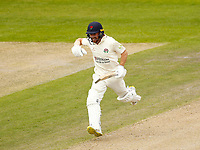 29th May 2021; Emirates Old Trafford, Manchester, Lancashire, England; County Championship Cricket, Lancashire versus Yorkshire, Day 3; Josh Bohannon of Lancashire shows his delight as he reaches his century shortly after lunch today