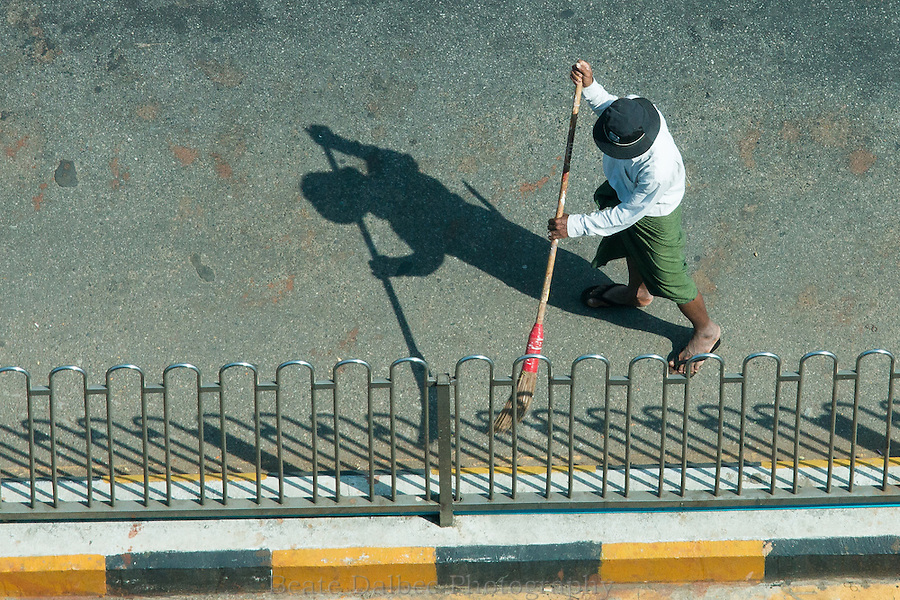 street sweeper in Yangon, Myanmar