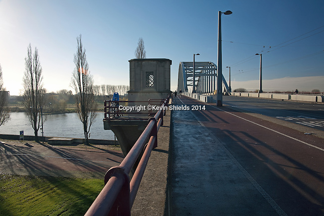 """The bridge over the Rhine river, focal point of the Battle of Arhem, September 1944, and subject of the movie """"A Bridge Too Far"""", Arnhem, The Netherlands."""