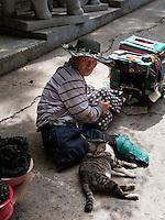 Betler am Aufgang zum Buddhistischen Tempel Haedong Yonggungsa, Busan, Gyeongsangnam-do, Südkorea, Asien<br /> beggar at  buddhist temple Haedong Yonggungsa, Busan,  province Gyeongsangnam-do, South Korea, Asia