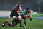 Rabo Direct Pro 12.Phil Price tackles Ray Ofisa..Newport Gwent Dragons v Connacht.30.03.12.©Steve Pope