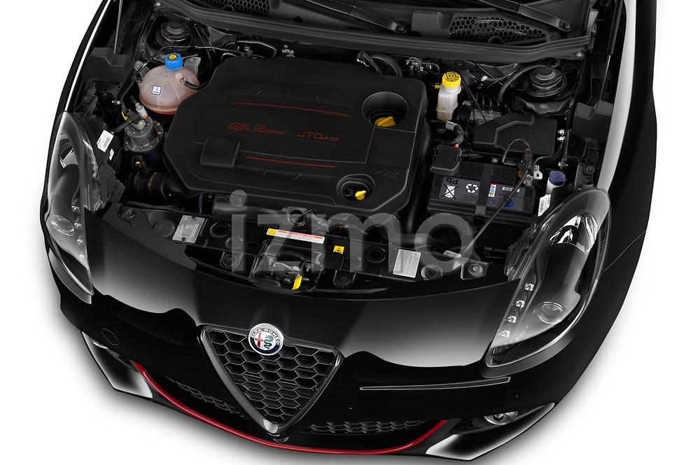 Car Stock 2016 Alfaromeo Giulietta Super 5 Door Hatchback Engine  high angle detail view